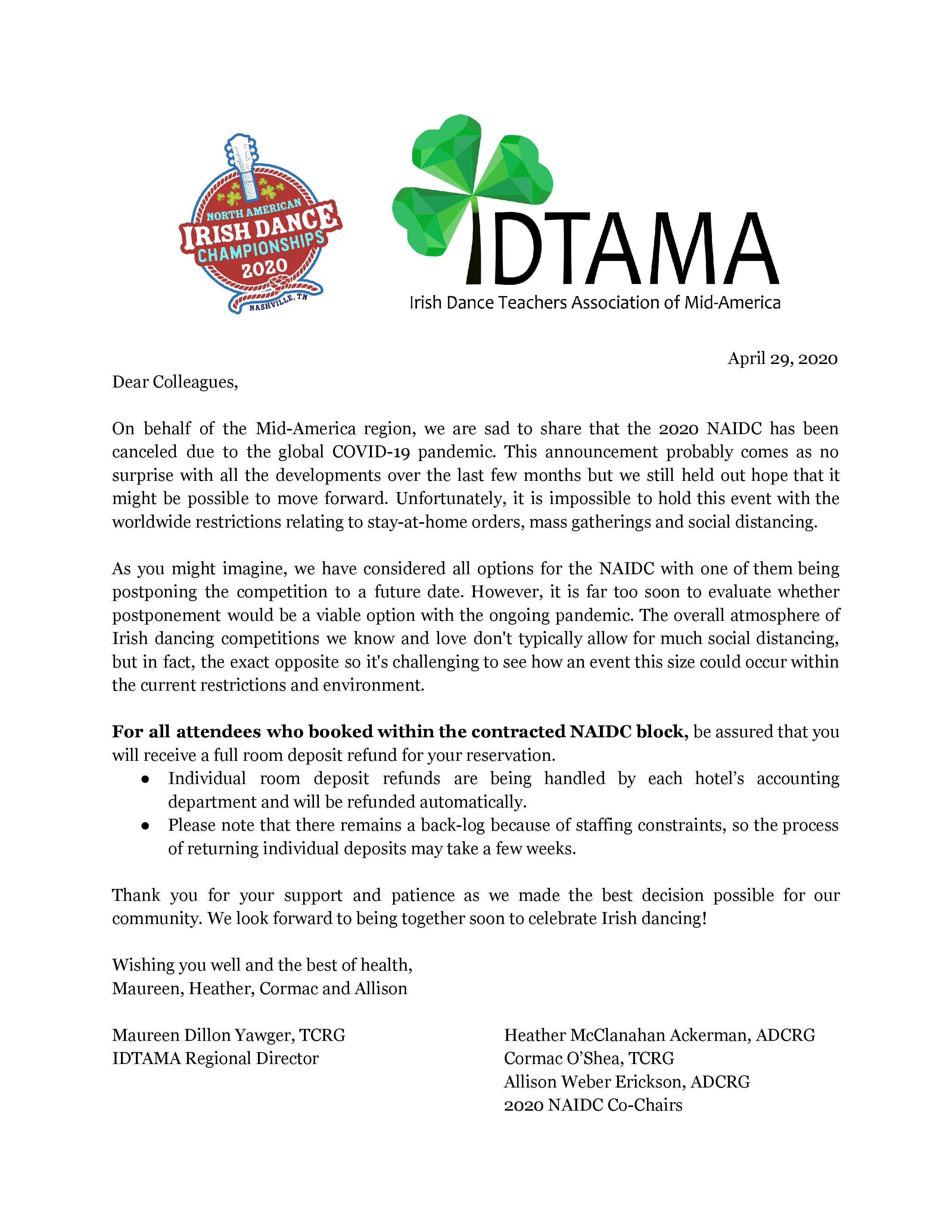 2020 NAIDC Worldwide Cancellation Letter